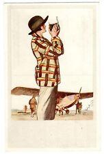 POSTCARD GERMAN ZEISS IKON CAMERA WOMAN PHOTOGRAPHER AT AIRPLANE