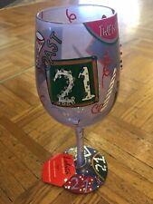 """Retired Lolita Hand Painted """"21"""" 21st Birthday Wine Glass NEW In original Box!!"""