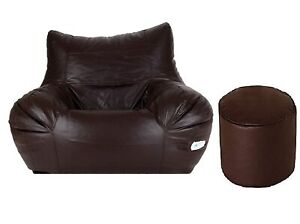 Bean bag Leather Chair without Bean with footstool Brown for luxuries Decor gift