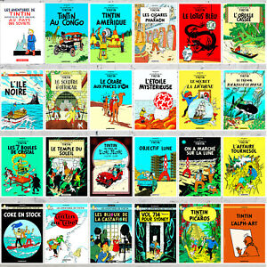 TINTIN ADVENTURES FRENCH COVER STYLE 24 DIFFERENT RARE COMIC POSTERS LOT
