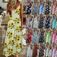 UK Womens Floral Beach Pullover Maxi CAMI Sundress Ladies Loose Long Slip Dress