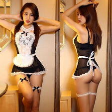 Women /Sissy Lingerie Maid Cosplay Babydoll G-String Lace Thong Nightwear Dress