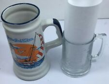 2 nautical beer mugs 1 cape cod, Boston lighthouse 1 Etched Nautical Clipper