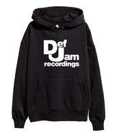 Def Jam Recordings White Logo Hoodie Hip Hop Classic Rap Sweatshirt merch Black