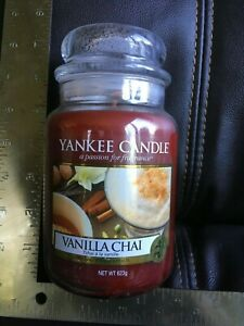 Yankee Candle vanilla chai 22 ounce large jar classic candle red