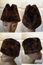 Vintage Unique Fur Hat 22# Circumference Brown Quilted Inside Good Vintage (8)
