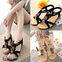 New Womens Sandals Peep-toe Flat Buckle Shoes Ladies Summer Beach Free Shipping