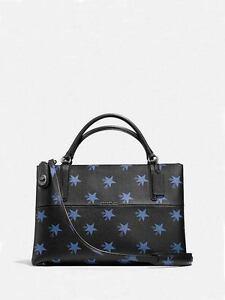 NWT Coach Star Borough Shoulder Handbag Black/Blue F 35875 $550