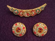 VTG gold tone micro mosaic crescent moon brooch clip on earrings set