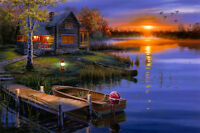 Art Print Lakeside cabins Landscape oil painting Picture Printed on canvas M398
