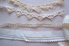 Vtg Lot of 4  Laces Trims for Antique French German Wooden Bisque Doll
