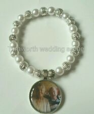 Memory charm glass pearl bracelet wedding writing picture FREE PICTURE INSERT