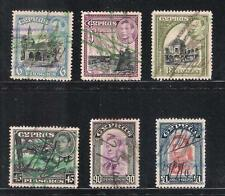 CYPRUS 1938 KGVI 6 HIGH VALUES SG 158/59/60/61/62/63 USED REVENUE FISCAL STAMPS