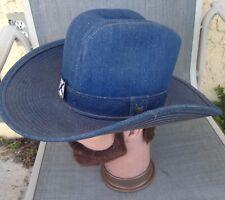 326e7e7fee4da Vintage Blue Denim Cowboy Western Hat Made In The USA Size Small