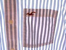 MINT Mens Hollister California L/S Shirt Size Large Blue Stripes Has Pocket Logo