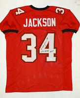 Dexter Jackson Autographed Red W/ Black Pro Style Jersey w/ SB MVP- JSA Auth