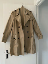WOMENS GAP BEIGE DOUBLE BREASTED BELTED LIGHTWEIGHT MAC TRENCH COAT SIZE SMALL