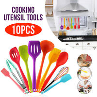10pcs set Silicone Utensils kits Cooking Kitchen Baking Cookware Spatula spoons