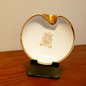 CARLYLE HOTEL ASHTRAY PIN DISH NEW YORK NYC MCM WHITE AND GOLD CROWN SHIELD