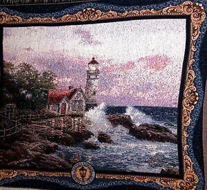 "Vintage Thomas Kinkade Painter of Light Lighthouse Afghan Blanket Sofa 65"" x 42"""