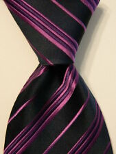 DAVID DONAHUE Sterling Men's 100% Silk Necktie USA Woven STRIPED Blue/Purple EUC