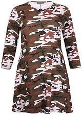 Womens Plus Size Camouflage Print Ladies Half Sleeve Long Flared Swing Dress Top