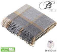 Bronte Block Windowpane Beige Grey Pure Soft Lambswool Blanket Throw Wool UK