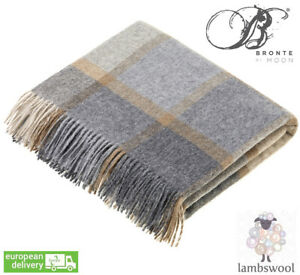 Bronte Block Windowpane Beige Grey Pure Soft Lambswool Blanket Throw Wool UK