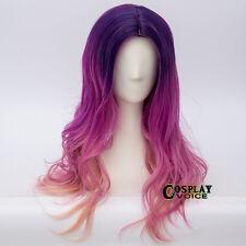 55CM Long Wavy Lolita Ombre Purple Mixed Magenta Orange Party Women Cosplay Wig