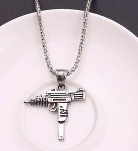 SILVER UZI MACHINE GUN PISTOL BOX CHAIN PENDANT NECKLACE RIFLE UK SELLER