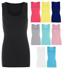 Womens Neon Ribbed Vest Top Ladies Strappy Stretch Sleeveless Casual Tops 8-26