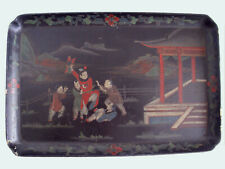 Antique 1800s Japanned Wood Large Tray Chinoiserie Unusual Scene Boys Playing