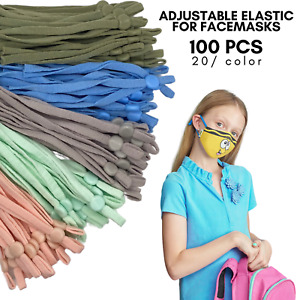 Black RONRONS 200 Pieces Sewing Elastic Band Cords with Adjustable Buckle Comfortable Stretchy Mask Earloop Lanyard Earmuff Rope DIY Mask ewelry Clothes Making Supplies