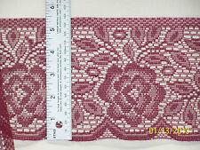 "Lace Trim - 5.5""w Flat lace - Floral Design - Wine - Burgundy"