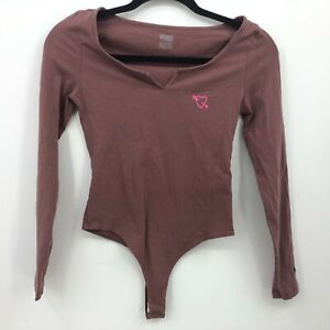 PINK Thong Body Suit Top Long Sleeve Size XS X-Small Leotard V-Neck Purple FLAW