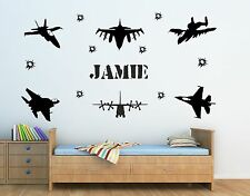 PERSONALISED ARMY FIGHTER JET PLANES & NAME WALL ART STICKER - KIDS BEDROOM