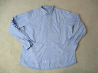 Peter Millar Button Up Shirt Adult Extra Large Blue White Plaid Long Sleeve A8*