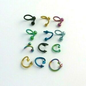 Anodised 1.6 Twirly Bar Ring Hoop Nose Lip Ear Stud Tragus Helix Body Piercing