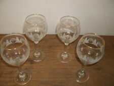 "Set of Four 8"" Gold Rimmed Chrystal Christmas Goblets"