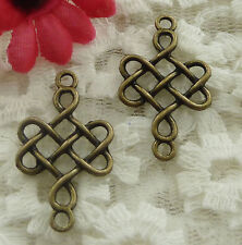 free ship 70 pieces bronze plated cross connector 31x18mm #2102