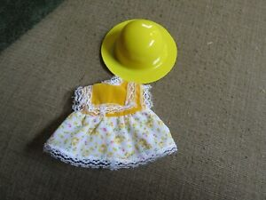 "yellow flowered dress and hat for 7-8"" doll"