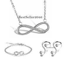 Charm Womens Silver Stainless Steel Infinity Love Bracelet Necklace Earrings Set