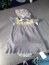 M&S 100%Cotton Fully Lined Dress, Pants & Hat Set 0-3m 62cm Charcoal Mix BNWT