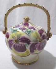Vintage Sadler Purple Lily Biscuit Cookie Jar Bamboo handle