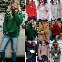 Plus Size Womens Cowl Neck Long Sleeve Sweater Loose Warm Pullover Tops Blouse