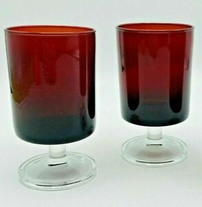 """Lot 2 Collectible Mid-Century 5 1/8"""" RUBY RED / Crystal Stem Glass Goblet France"""