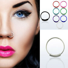 1-10PC 22G (0.6mm) Color-plated Sterling Silver Endless Nose Hoop Jewelry 8-12mm