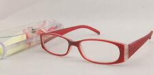 Lesebrille Lesehilfe Flexbügel Rot +1,0 Dioptrien m Etui + Brillenband +Tuch NEU