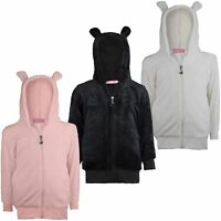 Kids Fleece Ears Hooded Jumper Girls Fluffy Super Soft Top Boys Sweater 3-14 Y