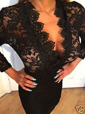 Black Lace Mini Dress See Thru top portion and Bottom portion Is lined  L